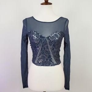 UO Kimchi Blue Limelight Metallic Lace Crop Top